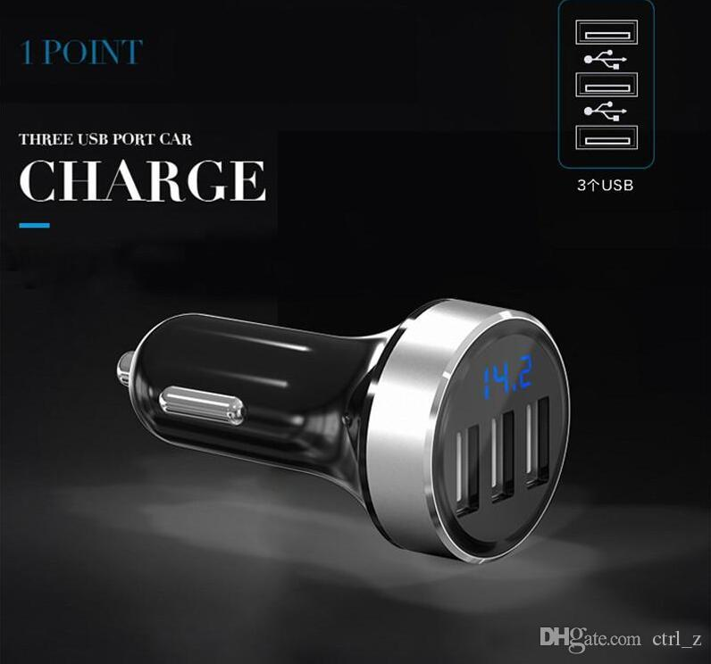 AP03 3 port Fast Car Charger for iPhone Samsung Galaxy iPad Mini Current LCD Display Universal Aluminium Charging with Package