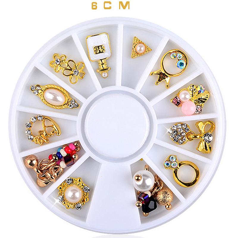 3d Charm Alloy Nail Art Rhinestone Decoration Wheel DIY Beauty Nail ...