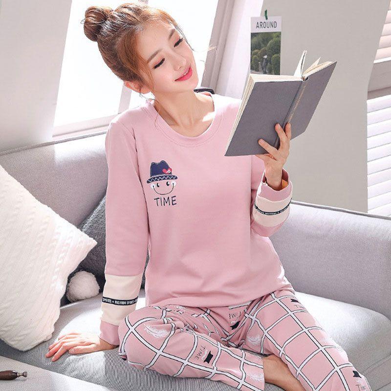 ddd7daf697 Compre 2018 Otoño Invierno Algodón Mujeres Pijama Establece Dibujos Animados  Impresos De Manga Larga Ropa De Dormir Linda Chica De Ocio En Casa Pijamas  ...