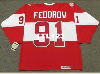 46823e0bbd5 2019 Men  91 SERGEI FEDOROV Detroit Red Wings CCM Vintage Hockey Jersey Or  Custom Any Name Or Number Retro Jersey From Ttl123