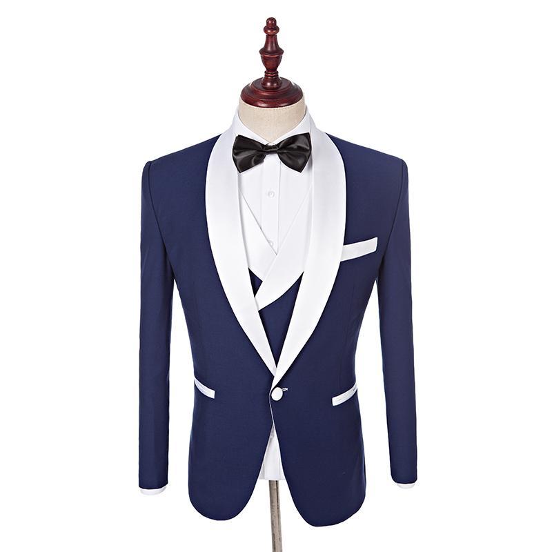2017 Custom Made Padrinhos Xale Branco Lapela Noivo Smoking Azul Homens Ternos de Casamento Melhor Homem Blazer Jaqueta + calça + colete + gravata borboleta