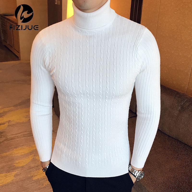 Winter High Neck Thick Warm Sweater Men Turtleneck Brand Mens Sweaters Slim  Fit Pullover Men Knitwear Male Double collar c90eea3a3