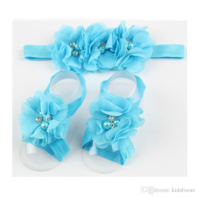 colourful foot flower barefoot sandals+headband set for baby infant girls toddler baby girls flower headbands foot flower hair band set