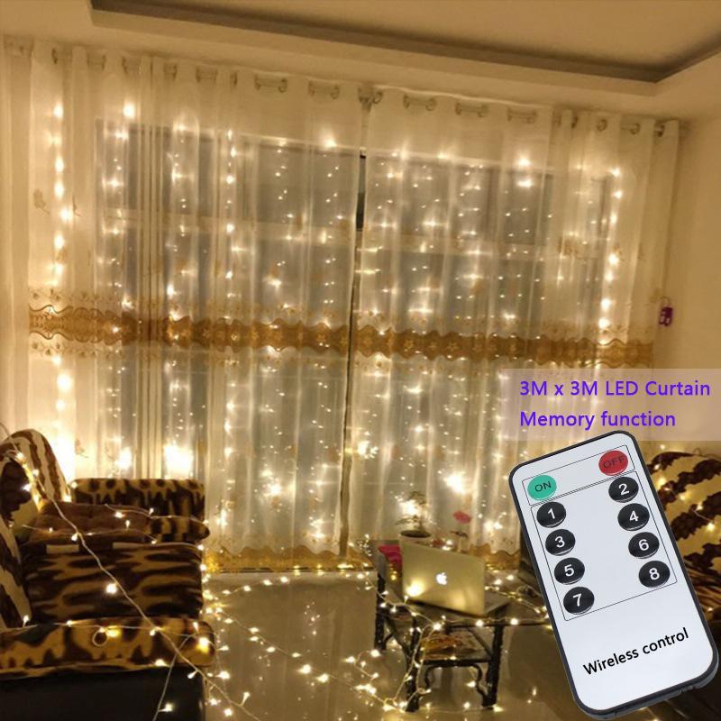 Compre 3x3m 304 Led Luces De Hadas De La Secuencia De La Boda Del Partido  Del Jardín Cortina Led Decoración Guirnaldas De Navidad Luz De La Cortina  De La ... 6dd4484a5e7