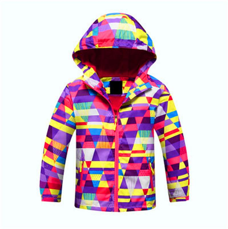 Hot Sale Fleece Girls Full Sleeve Hooded Lovely Clothing Soft Thermal Windproof Sport Long Wear Children Skiing Jackets