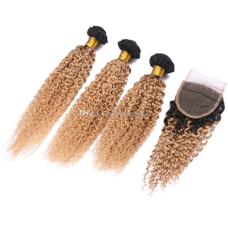 Ombre Biondi Colore crespi capelli umani ricci tessere con chiusura in pizzo Due Toni 1B 27 estensioni capelli trama con chiusura superiore 4x4