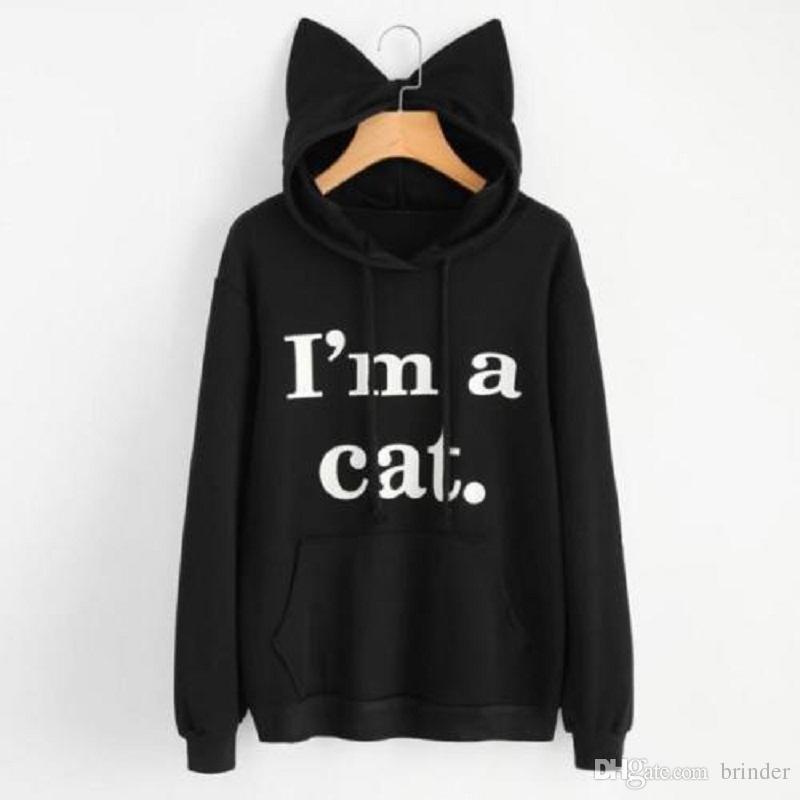 Compre Sudadera Para Mujer Cute Slogan Print Orejas De Gato Kawaii Hoodies  Long Sleeve Hoody Cat Cute Hoodies Chándal Prendas De Vestir Exteriores  Sudadera ... cb77c39bff48