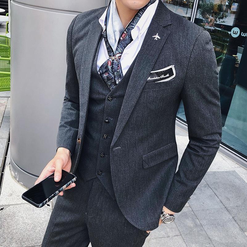 4a9b5bad94262 Satın Al 2018 Sonbahar Kış Kore Erkekler Moda Rahat Iş Ince Düzensiz Şerit Batı  Tarzı Takım Elbise Uzun Kollu Blazer Ceket Dış Giyim, $87.77 | DHgate.Com'da