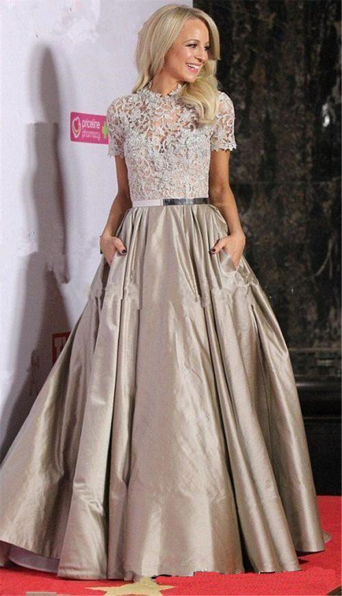 Elegant Lace Evening Dresses with Pocket Long Celebrity Chic Party Dresses Formal Prom Dress Gowns for Women vestido de festa 2017