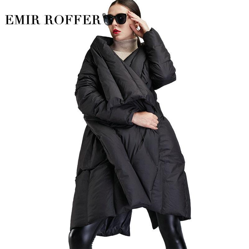 EMIR ROFFER 2018 New Winter Down Jacket Women Cloak Fashion Asymmetric Long Large Size Warm Duck Snow Coat Female Clothing