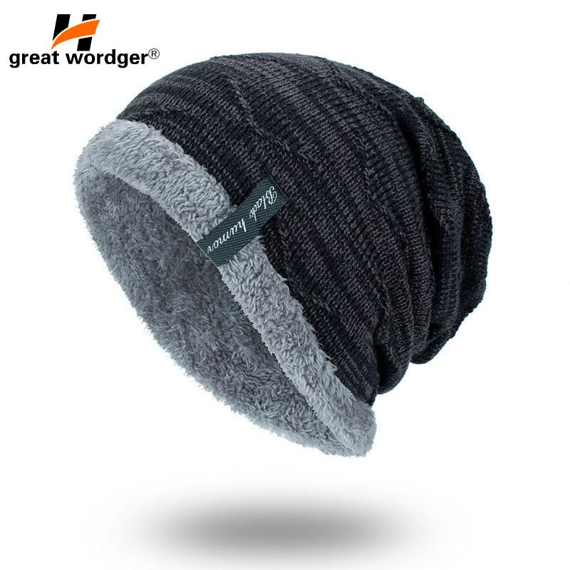 Wool Beanies Knit Men s Winter Hat Hiking Caps Skullies Bonnet ... 993c0236ce8