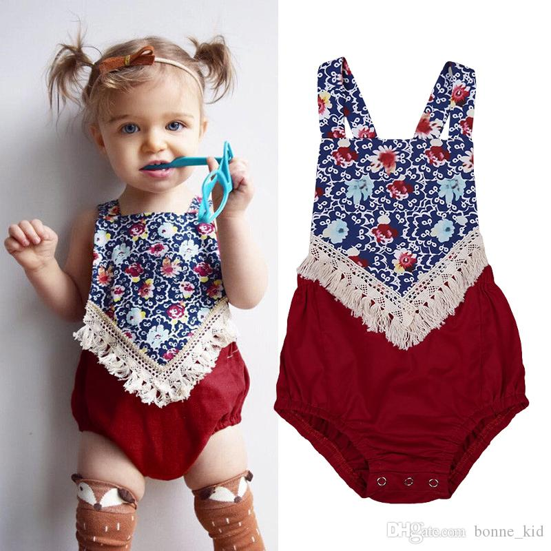 1eb96afc7504 2019 Boho Baby Girl Floral Tassel Romper Jumpsuit Baby Clothing Blue Flower  Patchwork Red Playsuit Sleeveless Bodysuit Sunsuit Summer Toddler From  Bonne kid ...