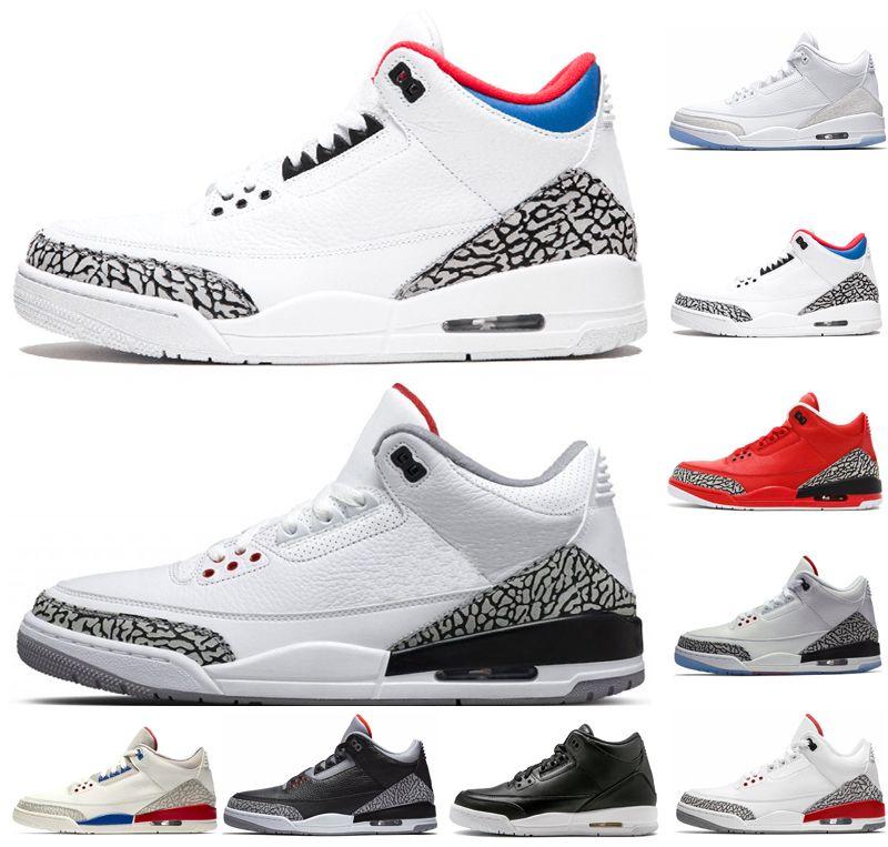detailed look 91bf1 52457 Designer 3 3s men basketball shoes JTH Tinker True Blue mens trainers QS  Katrina Black Cement Grateful sports sneakers Jogging shoes US 8-13