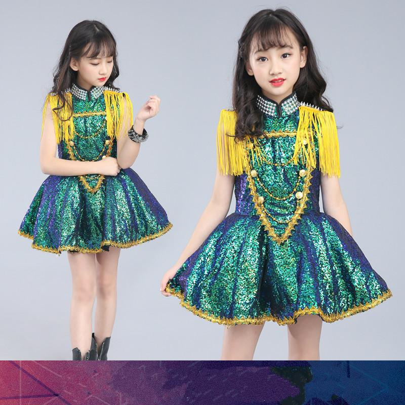 03eb61d018 New Children's Jazz Dance Costume Girl Siamese Skirt Fringed Sequin Model  Drum Performance Stage