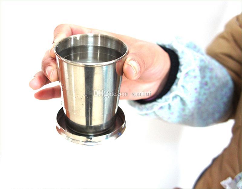 75 ml 140 ml 240 ml 접는 컵 스테인리스 휴대용 야외 여행 캠핑 접는 접을 수있는 컵 금속 망원경 키 체인 머그잔 WX9-348