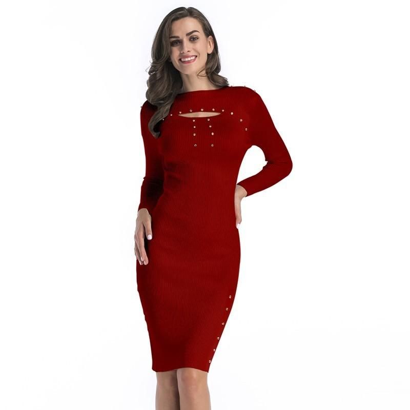 6b01eae4c72 2019 Autumn Winter Women Sweater Dress Long Sleeve Bodycon Knee Length  Elegant Office Work Plus Size Knitted Dress Christmas Red From Hannahao