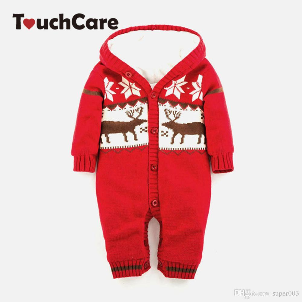 Baby Warm Thick Winter Knitted Sweater Rompers Newborn Boys Girls Jumpsuit  Climbing Clothes Christmas Deer Hooded Outwear Online with  19.27 Set on ... f9dfcbb8f80