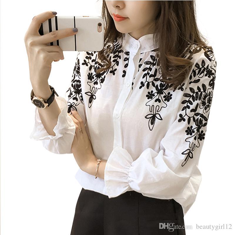 Camisa de la blusa del bordado de algodón de lino de las mujeres blusas Camisas Femininas blanco negro blusas bordadas de la moda de verano ropa femenina