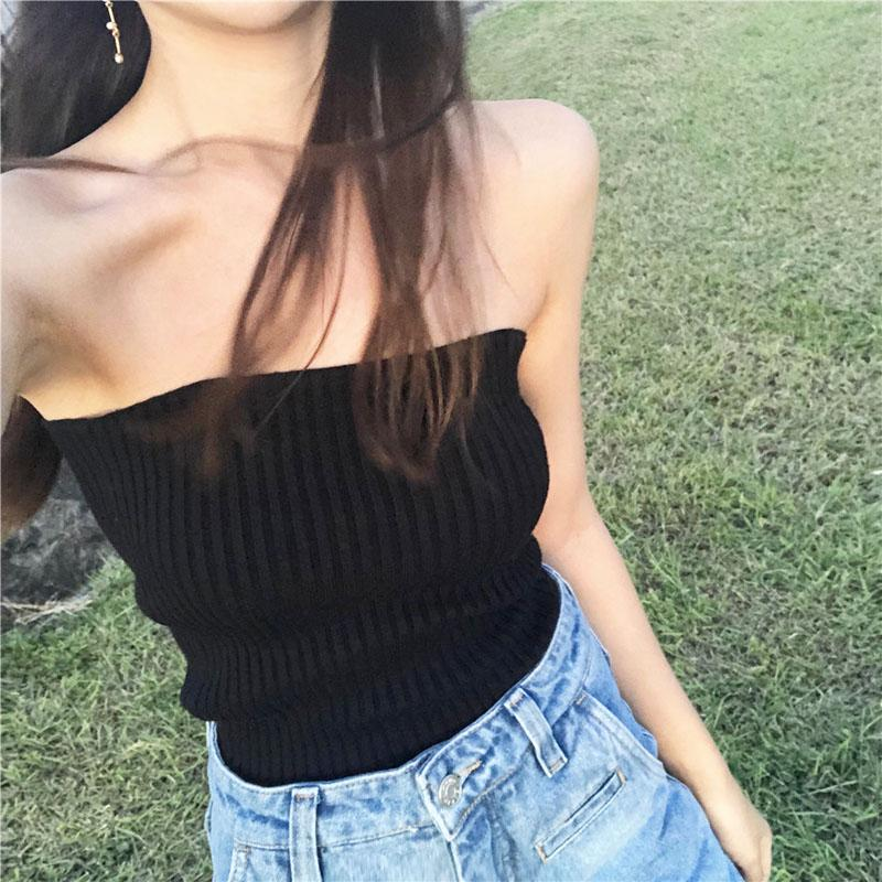 5f13258bc6fc21 2019 Sexy Tube Top Summer Black Tank Tops Women Bustier Strapless Female  Boob Tube Top Night Club Shirt Skinny Fashion Clothing New From Pamele