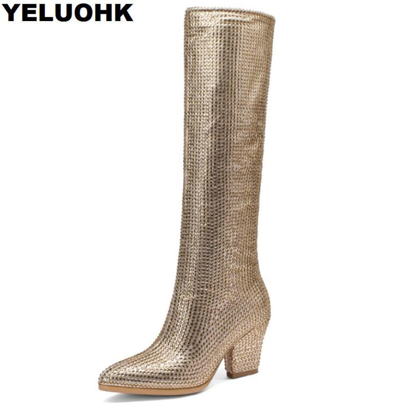 fa04043023d Brand Rhinestone Winter Boots Women High Heels Fashion Pointed Toe Over The Knee  Boots Women Shoes Comfortable High Skechers Boots Mid Calf Boots From ...
