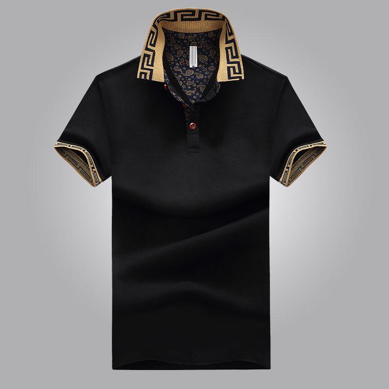 Sıcak Satış Gömlek Lüks Tasarım Erkek Yaz Turn-Aşağı Yaka Kısa Kollu Pamuklu Gömlek Erkekler Üst