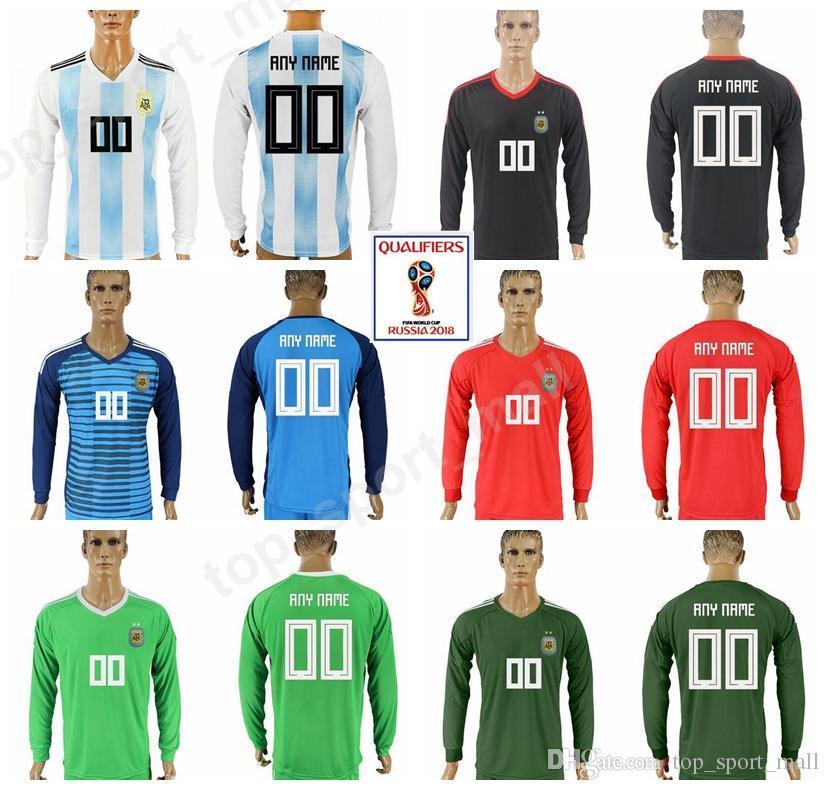 e52ee5aa0aacb Compre Argentina Camisa De Manga Longa 2018 Copa Do Mundo 18 19 Homens De  Futebol Camisa De Futebol Da Argentina Uniforme Camiseta De Futbol Casa  Branco ...