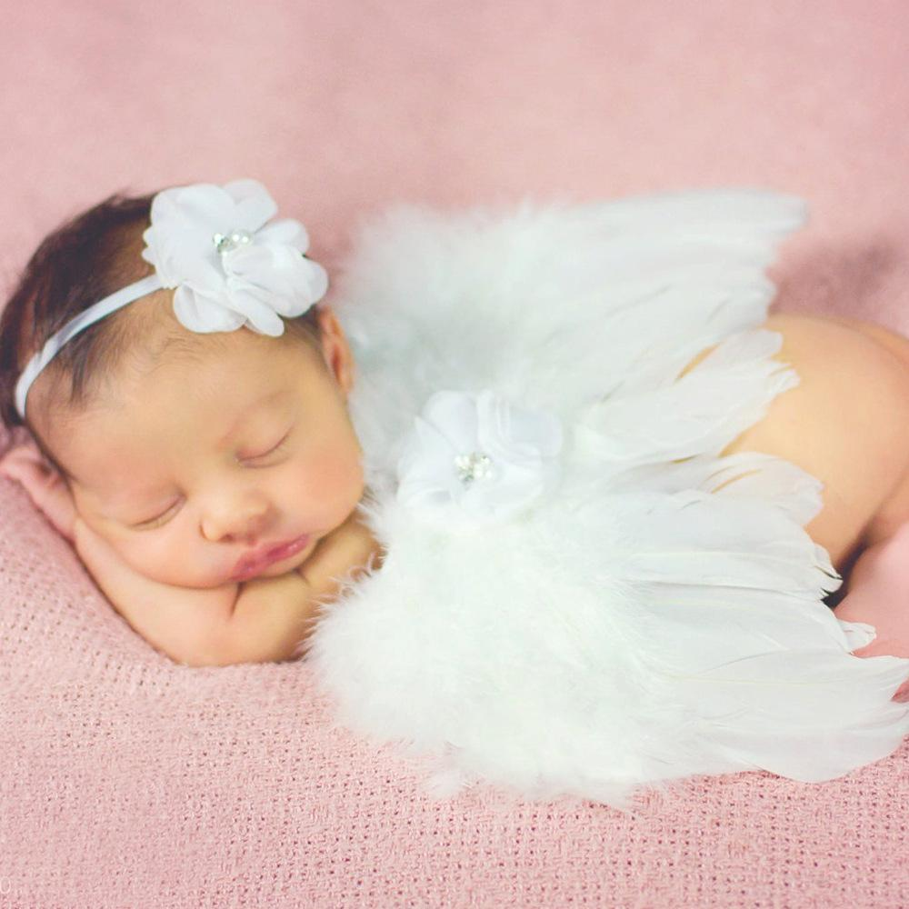 Angel feather angel wings and bow headband for newborn photographers newborn wings with headband photo prop toddler flower girl hair accessories vintage