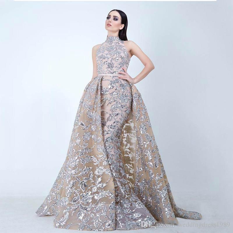 Sexy ouro lantejoulas sereia Vestidos de noite com Ocasião destacável Skirt Prom Dress Longo Formal vestido de festa Pageant Vestidos Celebrity Special