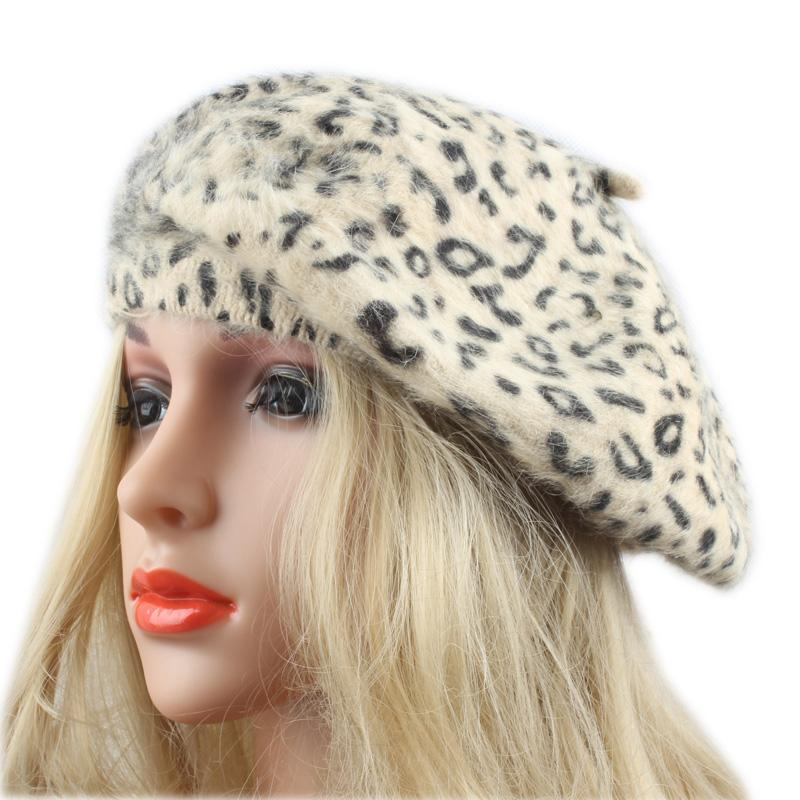 Fashion Women Woolen Cap Beret Ladies Leopard Printed Hat Brand Casual Girls Autumn and Winter Warm Knitted Hat