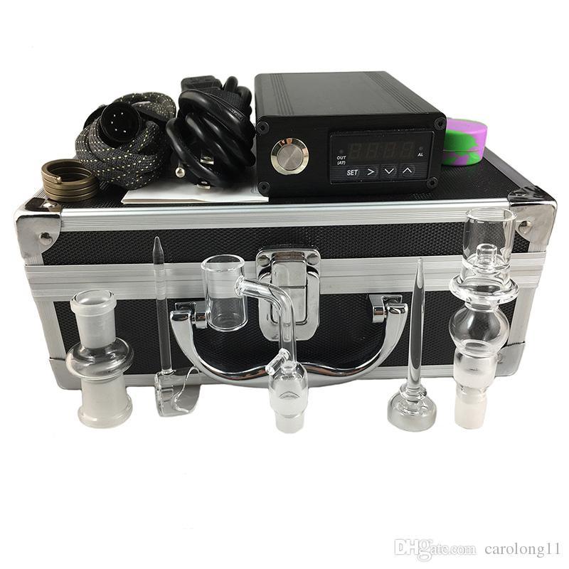 Duplo Quartz E Dab Kit Caixa Prego Electic 14 18 MM Feminino Masculino Prego De Quartzo Elétrico Dab Prego Kit Completo Controlador de Temperatura Ferramentas Dabber