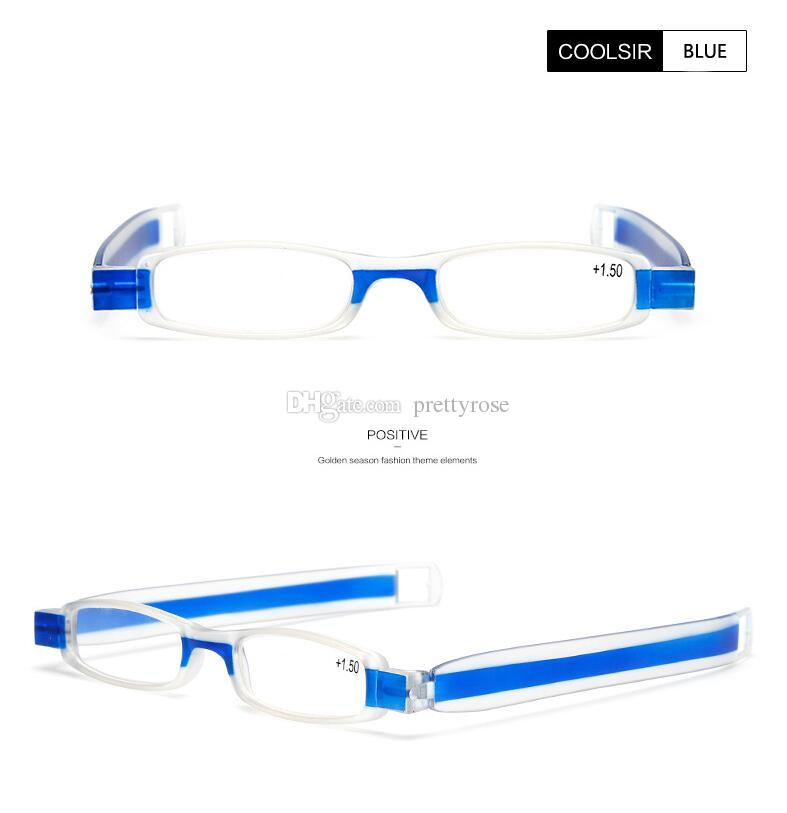 Rotación de 360 grados Plegable Gafas de lectura Mini Dioptría Hombres gafas de lectura presbicia plegables 1.0 a 4.0 de fuerza es