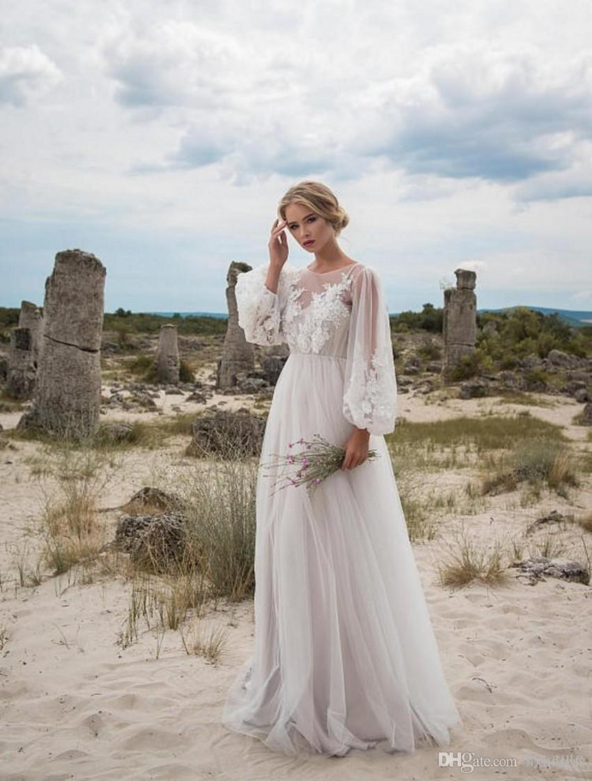 2019 New Boho Wedding Dresses Long Sleeves Bohemian Wedding Dresses Appliques Tulle Floor Length Beach Wedding Gowns Cheap Bridal Dresses From Hxhdress 96 11 Dhgate Com