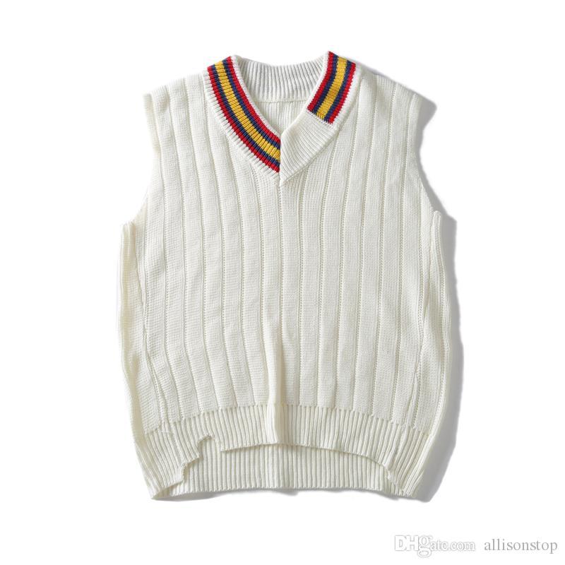 Mens Malha Com Decote Em V Pullover Blusas Polo Branco Outono Inverno BF Harajuku Estilo Marca Sleeveness Ocasional Dos Homens Camisolas Amante Retro Vest M-XL
