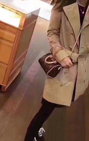 Feminino NANO balde flor marrom mini-saco de travesseiro SPEEDY bolsa de ombro M61252 Mini bolsa de couro bonito único ombro cruz sacos de 16 cm