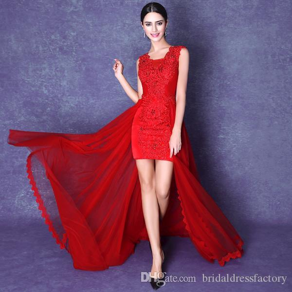 5a329eaf72d 2018 Sexy Red Short Front Long Back Lace Chiffon Sleeveless Cocktail Dresses  Plus Size