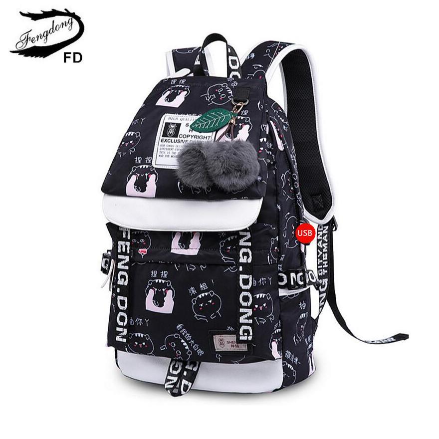 280f912e09 FengDong School Bags For Teeange Girls Cute Chinese Characters Printing  Backpack Black Cartoon Bag To School Children Backpacks Ladies Small  Backpack Bags ...