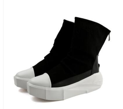 651dde0b847 New Owen Men 8cm Height Increasing Platform Boots Back Zip Leather Shoes  Male Mixed Colors Y3 High Top Black White Men s Fashion Boots