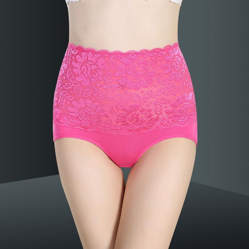 High Waist body shaper Panties Sexy Healthy Underwear Plus Size Briefs for women underpants Lace transparent Lingerie Panties