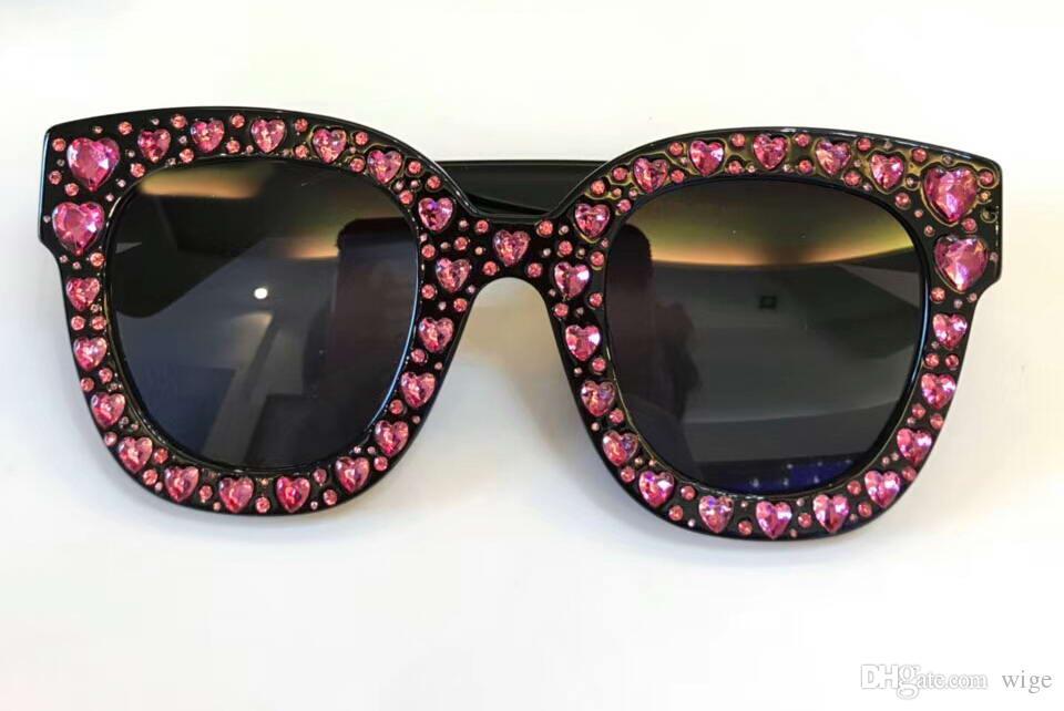 2e2d429c02 Compre Las Mujeres 116S 0116 / S NEGRO / Transparente Corazones Pink Stones  Gafas De Sol Sonnenbrille Designer Brand Gafas De Sol 2018 Nuevo Con Caja A  ...