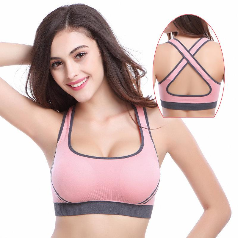 ccbcae8e1fa22 2019 Women Yoga Fitness Stretch Sport Bar Tank Top Gym Female Workout  Seamless Cross Back Racerback Padded Push Up Black Sports Bra From  Nicebetter