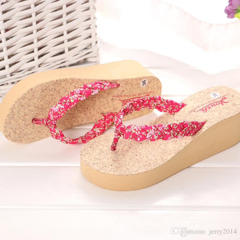Wholesale new females Beach shoes Summer fashion Slipper Flip Flops women's casual breathable wedge heels slippers plus size