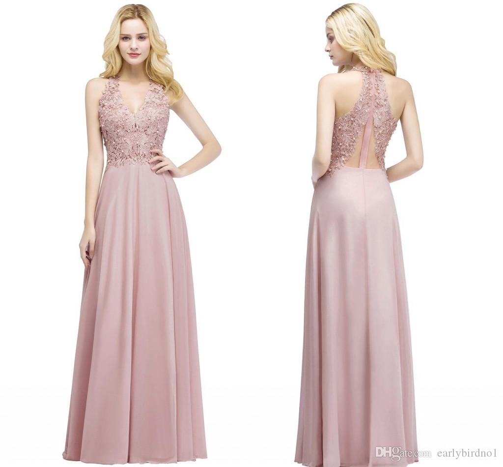 b9ba4b2480f6 2018 New Elegant Dusty Pink Long Bridesmaid Dresses V Neck Lace Appliqued  Pearls Cheap Maid Of Honor Gowns Prom Party Wear CPS912 Floral Print  Bridesmaid ...