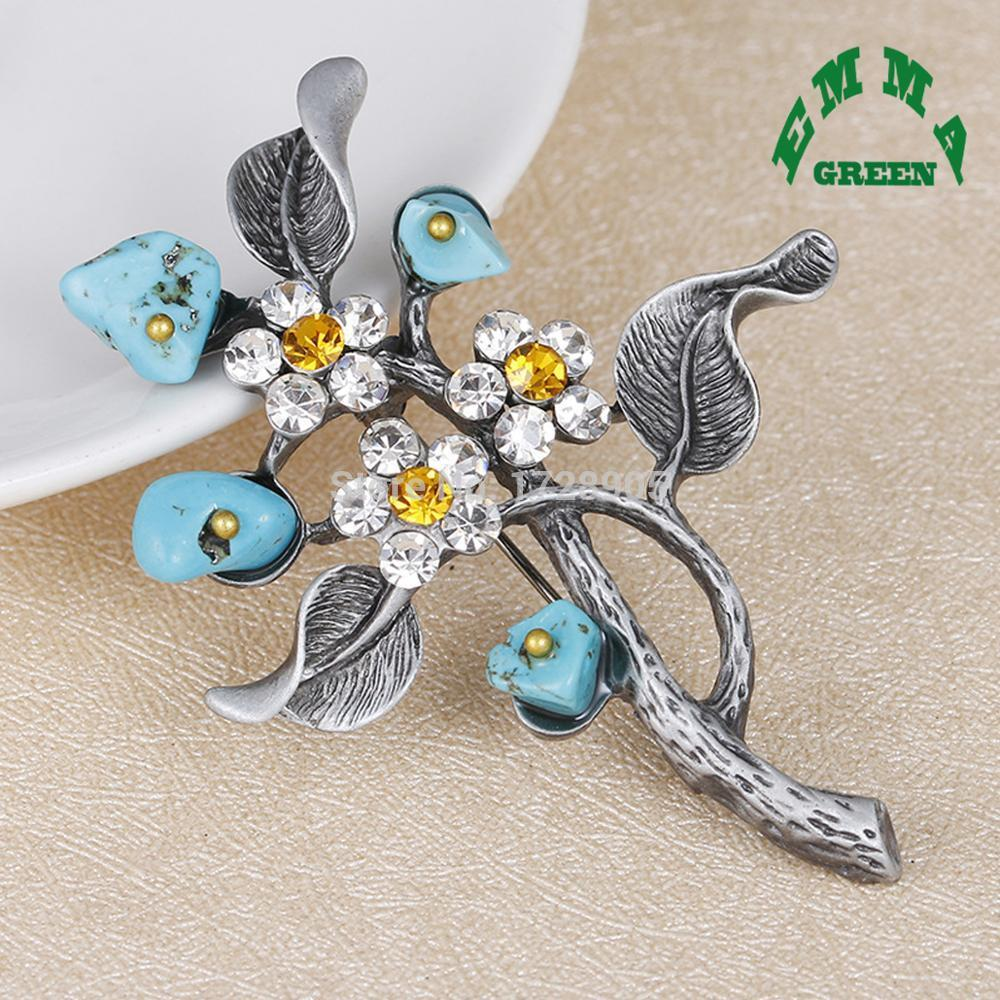 Agated Stone and Crystal Flower Brooches Pins 45x60mm Large Rhinestones Brooch Lapel Pins for Women or Men