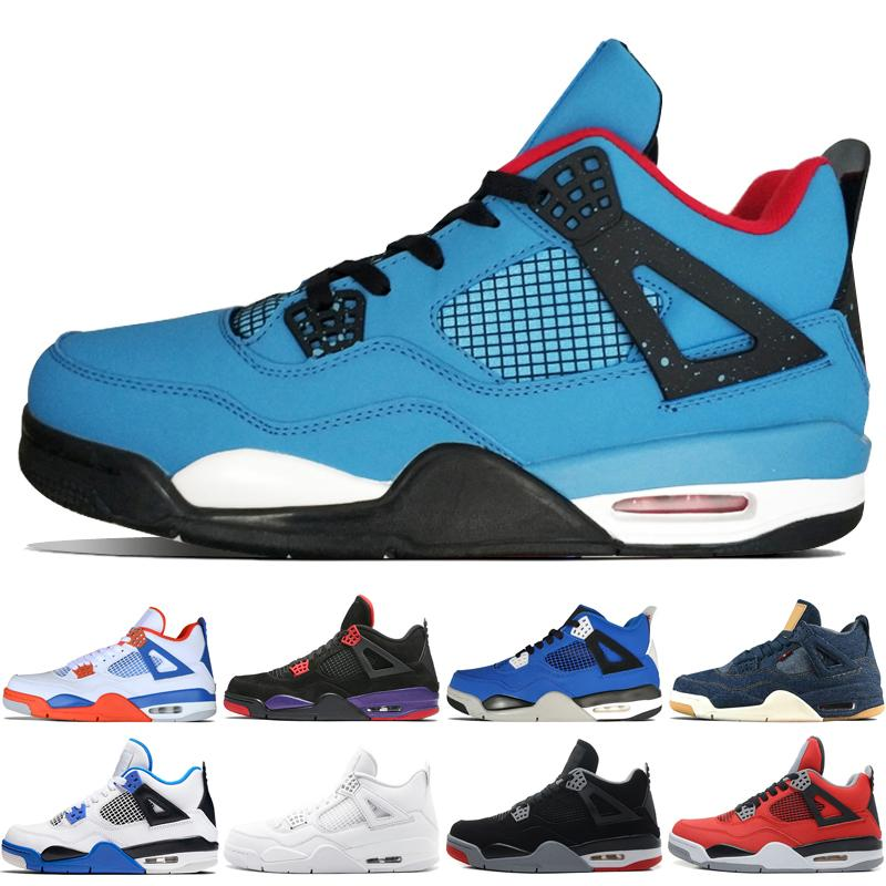 f31ba77763a2a4 4 4s Travis Scotts Cactus Jack Mens Basketball Shoes Raptors Kaws ...