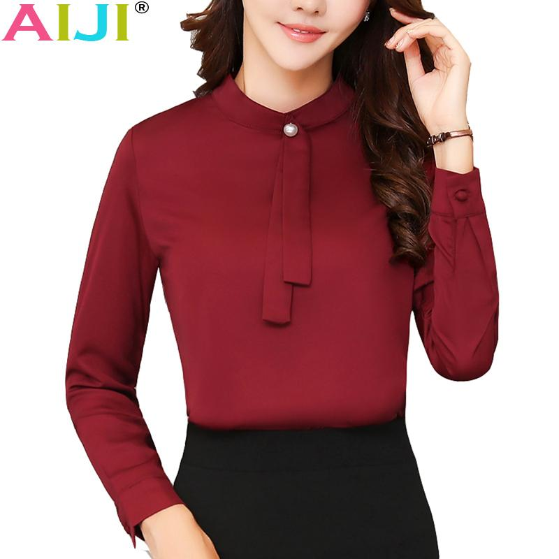 3fea6299433 2019 Spring Summer Elegant Long Sleeve Blouses Women OL Career Collar Chiffon  Shirts Tops Ladies Office Business Plus Size Work WearY1882504 From  Zhengrui05 ...