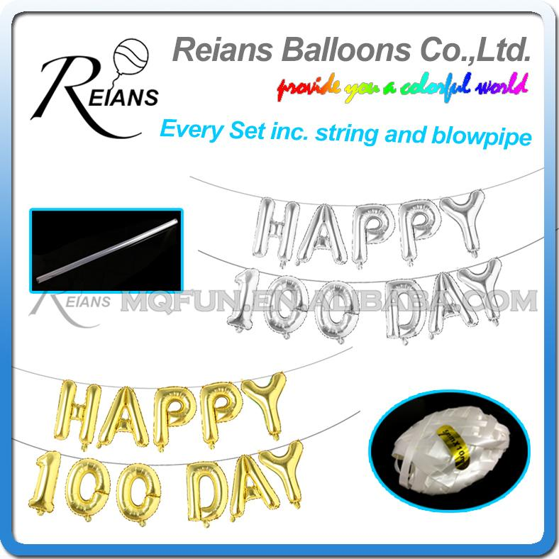 100set Lot 16 Inch Joyeux Anniversaire Heureux 100 Jours Feuille Dhélium Ballon Baby Shower Ballons à Air 1th Birthday Partys Décorations