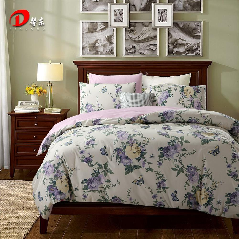 Floral luxury bedding set egyptian cotton pastoral print flowers king queen size bedsheet duvet cover set bed sheet sets satin full duvet cover complete