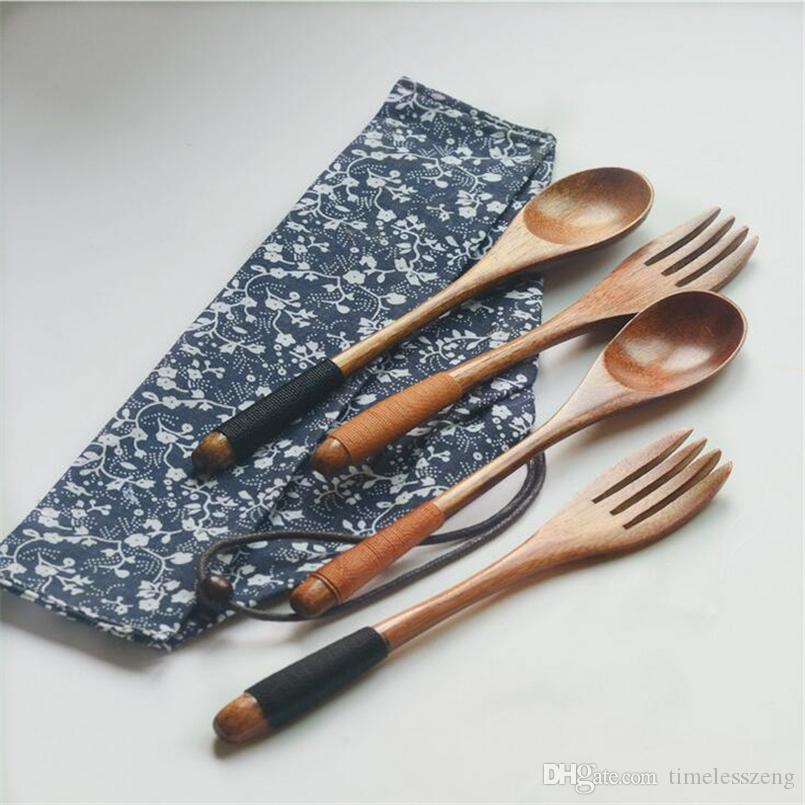 Environmental wooden fork spoon two-piece suit Japanese Korea style travel portable tableware nice dinnerware bag packing free ship