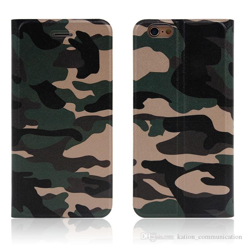Camouflage Leather Wallet Case Kickstand with Card Slot Flip Cover For iPhone X 8 7 6s plus Cool Army Camo Camouflage Leather Case