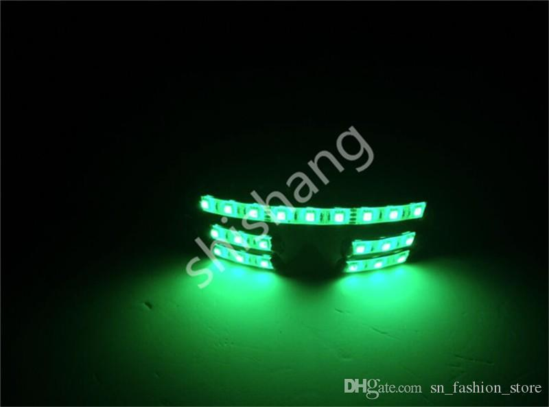 YJful RGB light led glasses ballroom dance costumes luminous glasses party bar stage show wears dj club performance glowing costume